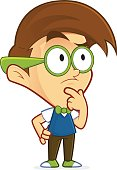 Clipart picture of a nerd geek cartoon character thinking