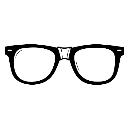 A pair of black glasses with white tape on the bridge of the nose.