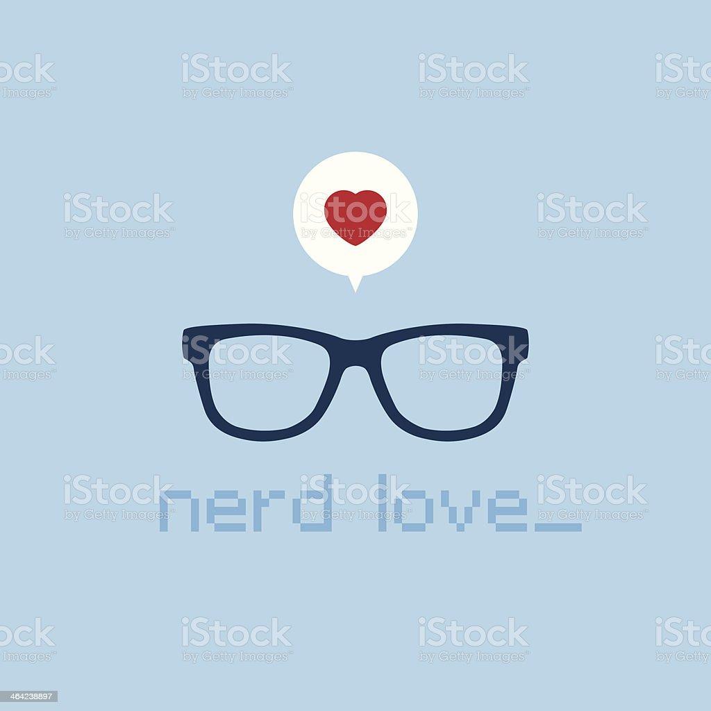 Nerd love vector art illustration