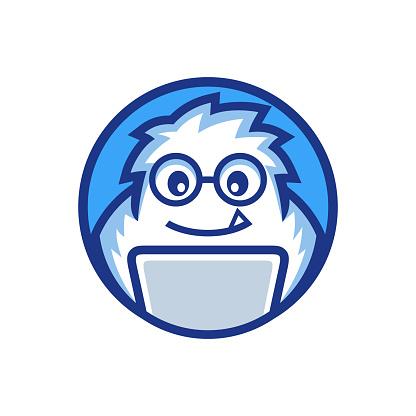 nerd mascot yeti programmer work on the laptop logo design
