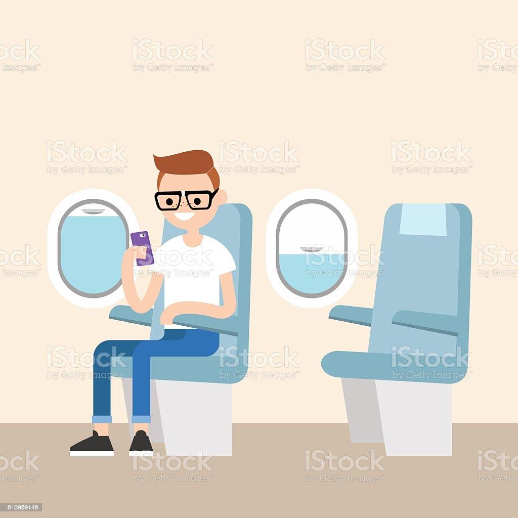 Nerd on the plane vector art illustration