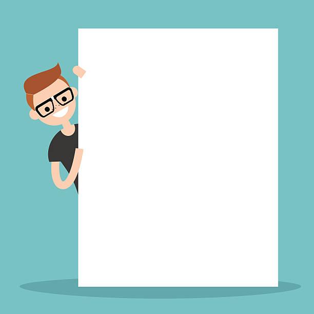 nerd peeping from behind a blank board mock up - kindersprüche stock-grafiken, -clipart, -cartoons und -symbole