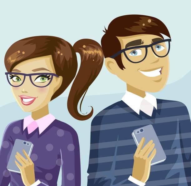 Nerdy couple vector art illustration