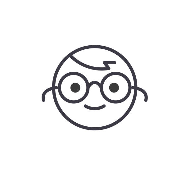 nerdy emoji konzept linie bearbeitbares vektor, konzept-symbol. nerdy emoji konzept lineare emotion abbildung - uncool stock-grafiken, -clipart, -cartoons und -symbole