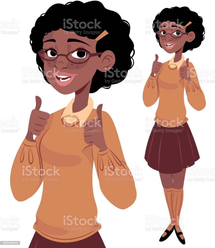Nerdy Girl 2 Thumbs Up vector art illustration