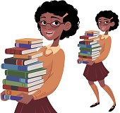 A nerdy girl carrying books