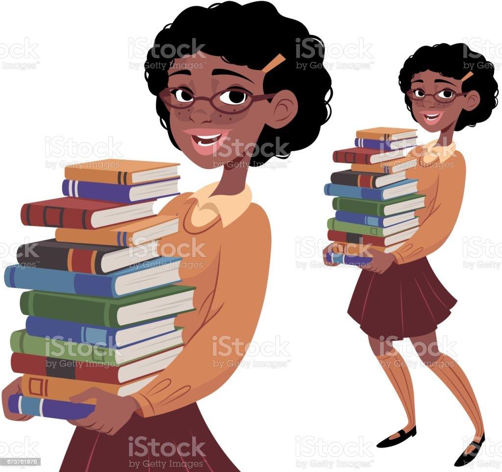 Nerdy Girl Carrying Books vector art illustration