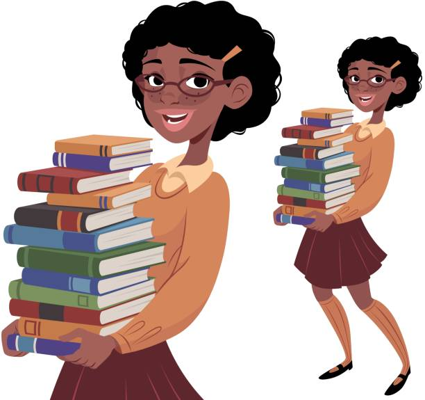 Nerdy Girl Carrying Books A nerdy girl carrying books nerd hairstyles for girls stock illustrations