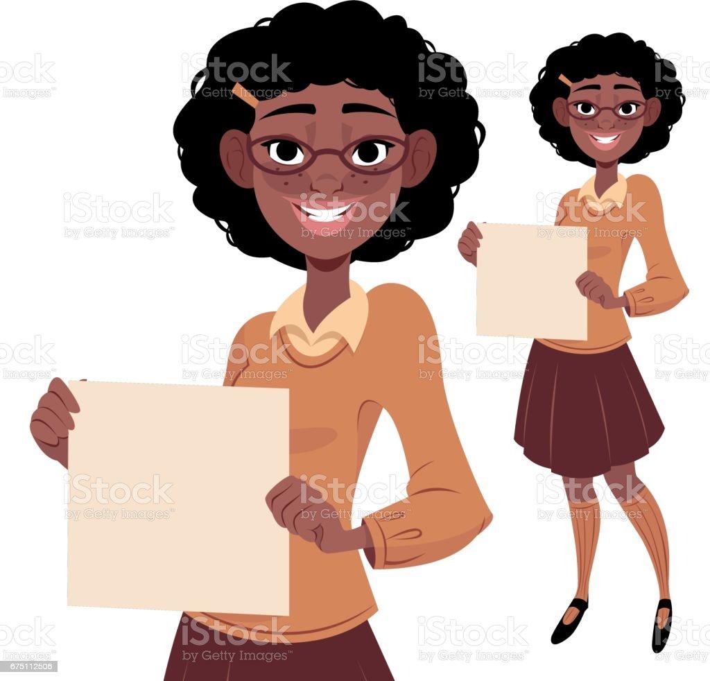 Nerdy Girl Holding Sign vector art illustration