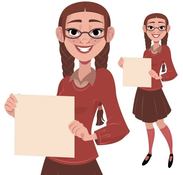 Nerdy Girl Holding Sign A nerdy girl holding a blank piece of paper nerd hairstyles for girls stock illustrations