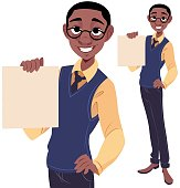 A cartoon of a nerdy guy holding a blank piece of paper