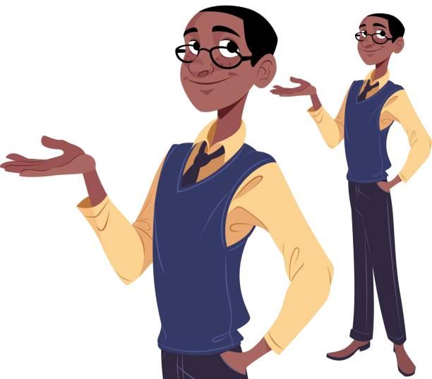 ilustrações, clipart, desenhos animados e ícones de cara nerd apresentando - só um homem jovem