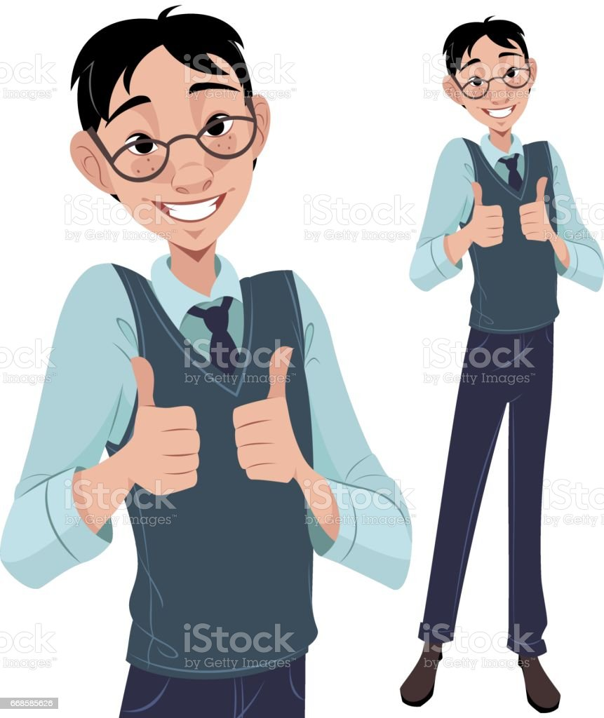 Nerdy Guy Thumbs Up vector art illustration