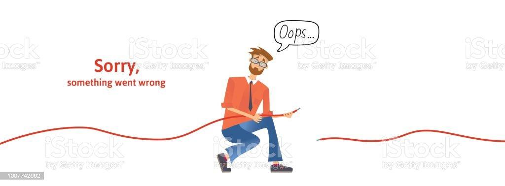 Ilustración de Chico Nerd Con El Cable Desconectado En Sus Manos ...