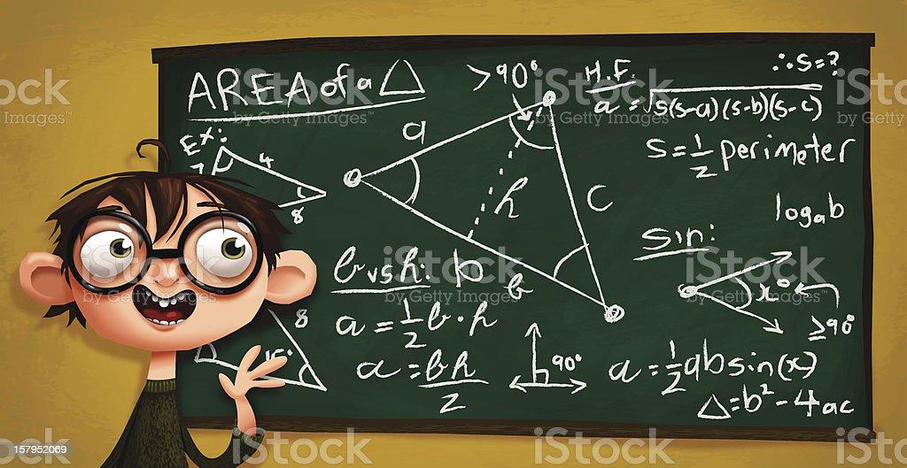 Nerd Kiddo explicando matemática coisas - ilustração de arte em vetor