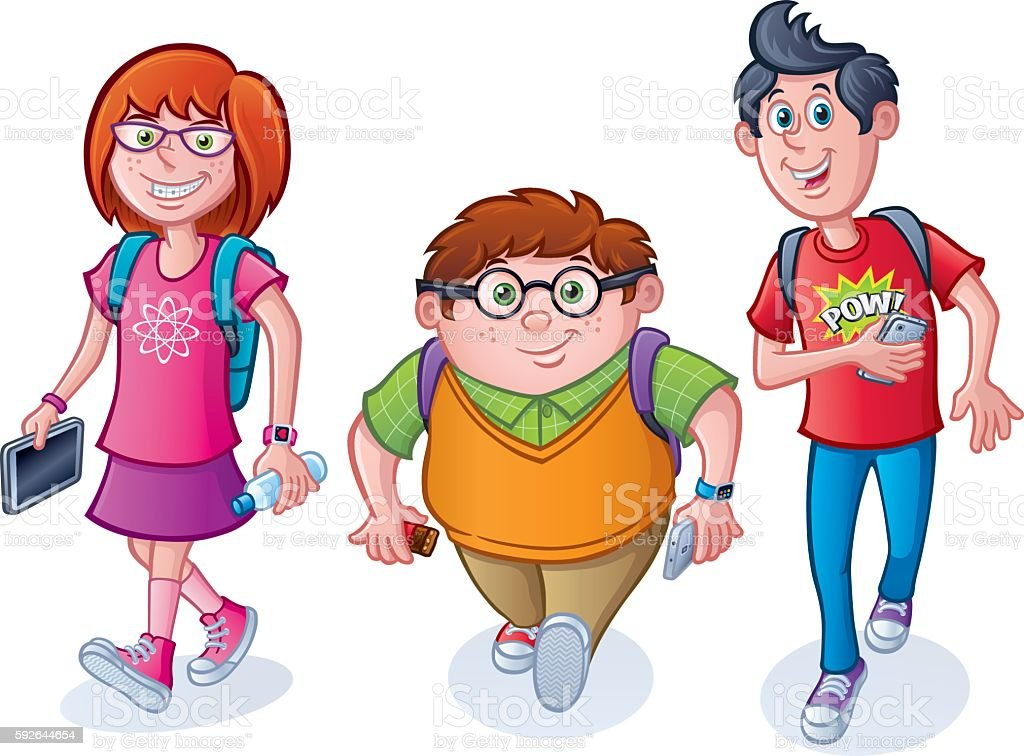 Nerdy School Kids Walking with Backpacks vector art illustration