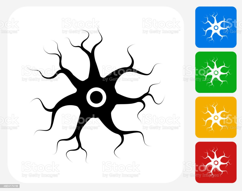 Nerve Cell Icon Flat Graphic Design vector art illustration
