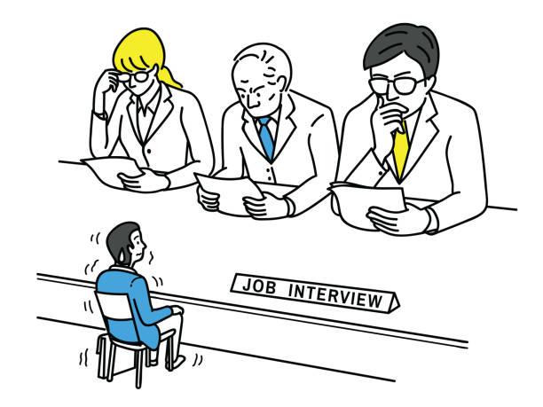 bildbanksillustrationer, clip art samt tecknat material och ikoner med nervös sökanden i anställningsintervju - job interview