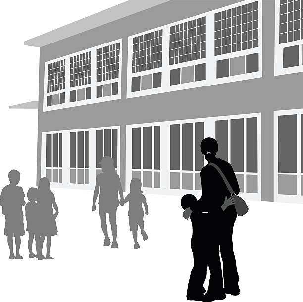 nervous at a new school silhouette vector - grundschule stock-grafiken, -clipart, -cartoons und -symbole