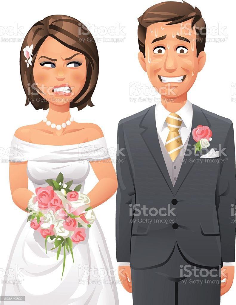 Nervous Groom And Angry Bride vector art illustration