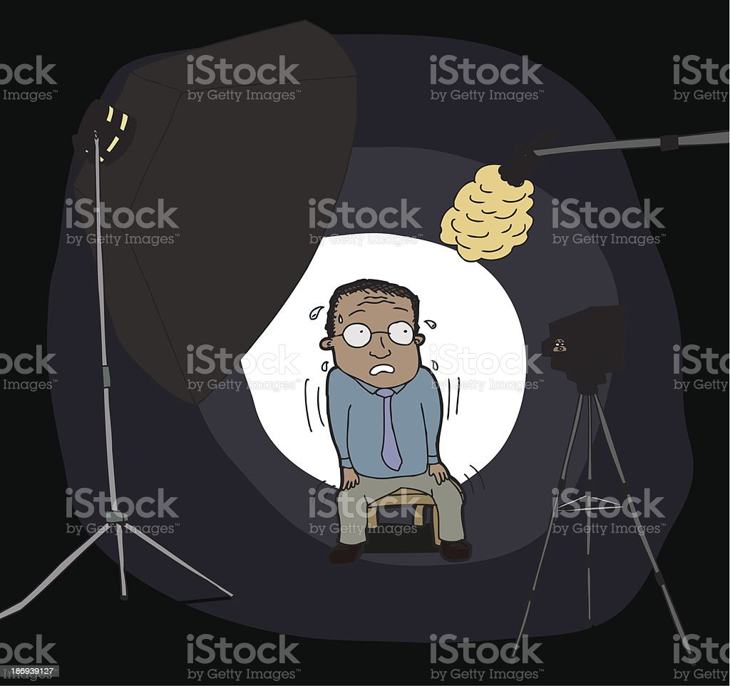 Nervous Man on Camera royalty-free stock vector art