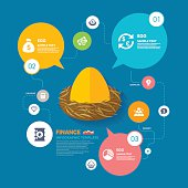 Nest egg and Finance infographic template  , Vector illustration,eps10  This chart includes the financial information related to the flat icons and templates