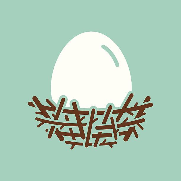 Nest With Egg Nest with egg icon. File type - EPS 10. nest egg stock illustrations