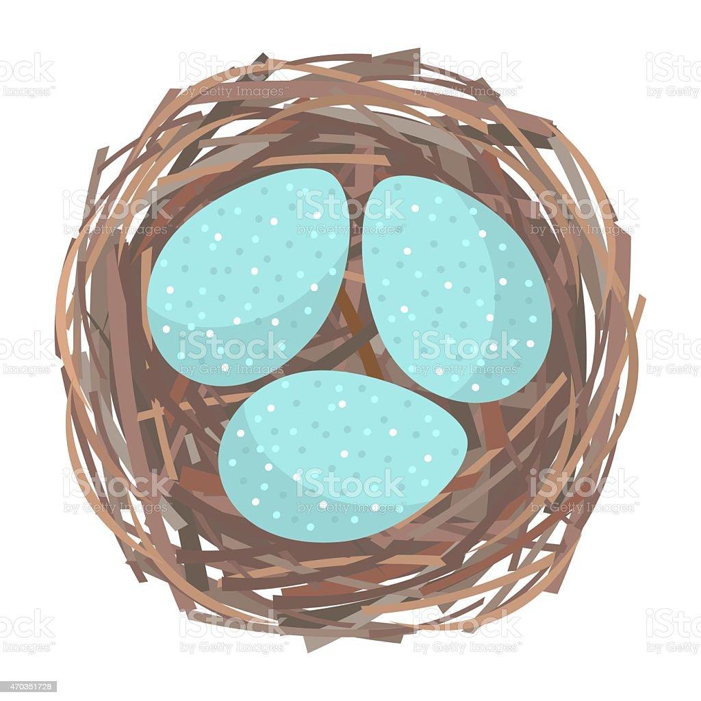 Nest with eggs vector art illustration