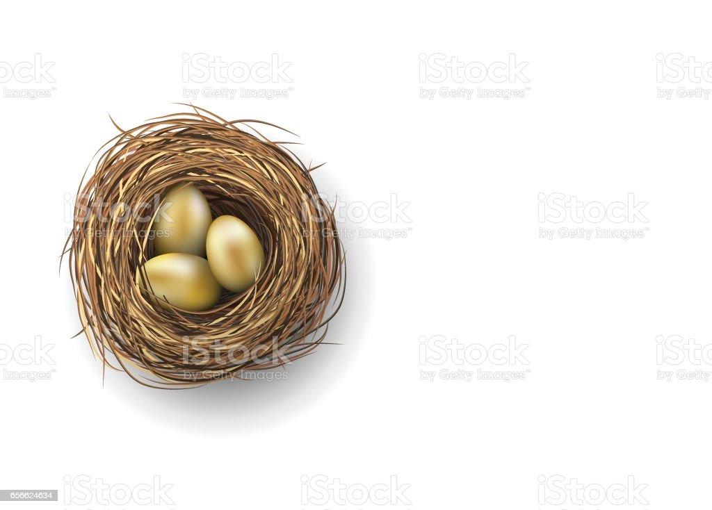 Nest with golden eggs on white background, illustration vector art illustration