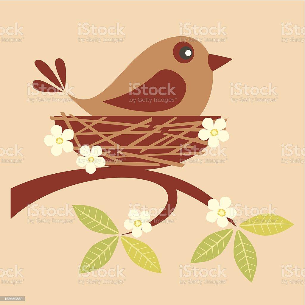 Nesting bird vector art illustration