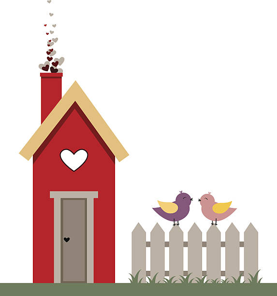 Nesting box with a bird couple in love. Valentine card vector art illustration
