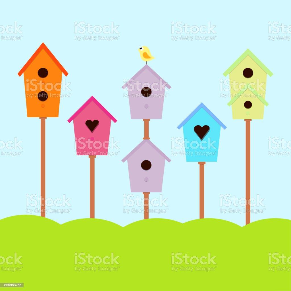 nesting box with bird vector art illustration