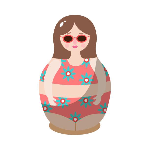 illustrazioni stock, clip art, cartoni animati e icone di tendenza di bambola nidificante in costume da bagno da disegno. illustrazione vettoriale in stile cartone animato piatto - souvenir