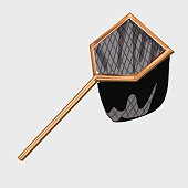 Net for catching butterflies or fish, vector image