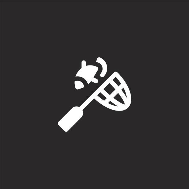 netzsymbol. gefülltes netzsymbol für website-design und mobile app-entwicklung. netz-symbol aus gefüllten angelsammlung isoliert auf schwarzem hintergrund. - mückenfalle stock-grafiken, -clipart, -cartoons und -symbole