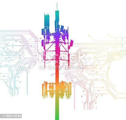 Huge Cellphone Tower in rainbow colours with circuit board background