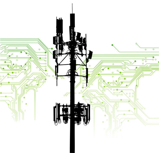 Net Neutrality Cellphone tower and green background with motherboard showing various circuits repeater tower stock illustrations