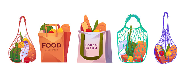 Net, paper and cotton shopping bags with grocery
