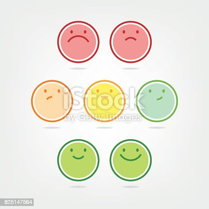 Vector illustration of a set of a seven step net promoter score emoticons. Minimalistic style with flat colors