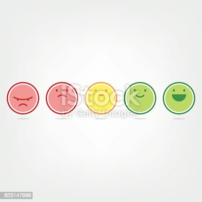 Vector illustration of a set of a five step net promoter score emoticons. Minimalistic style with flat colors