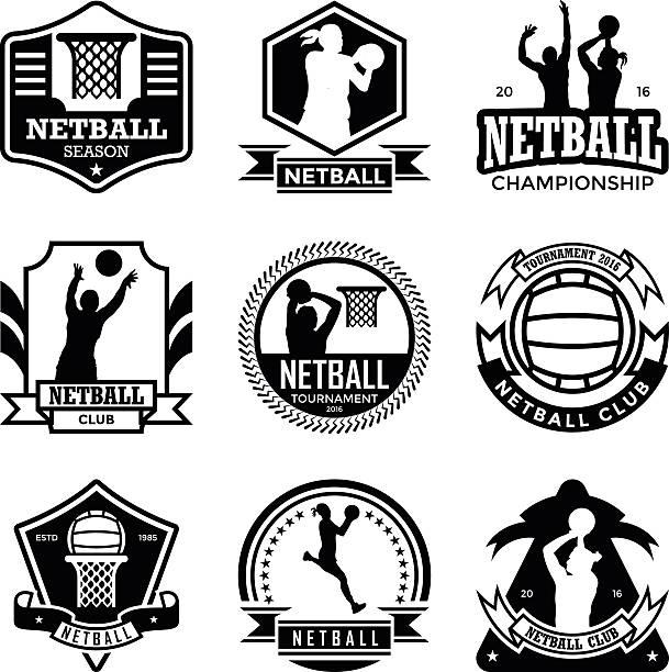 stockillustraties, clipart, cartoons en iconen met netball badges - netball