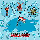 Netherland Flat Icons Design Travel Concept. Vector illustration, EPS 10