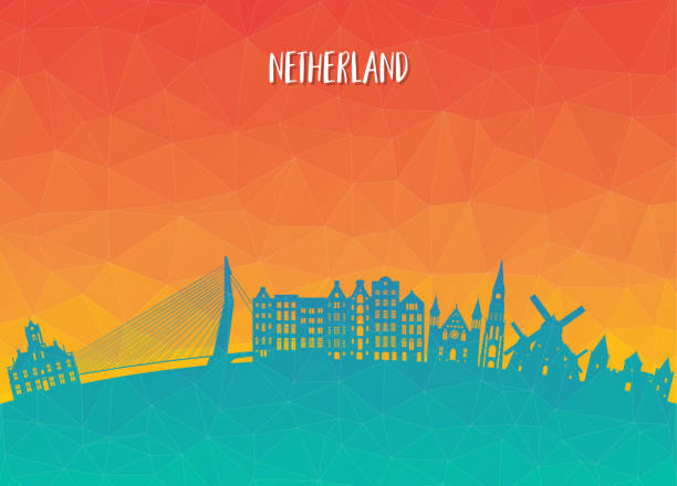 netherland landmark global travel and journey paper background. vector design template.used for your advertisement, book, banner, template, travel business or presentation. - holandia stock illustrations