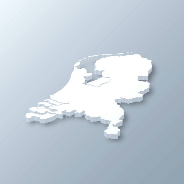netherlands 3d map on gray background - holandia stock illustrations