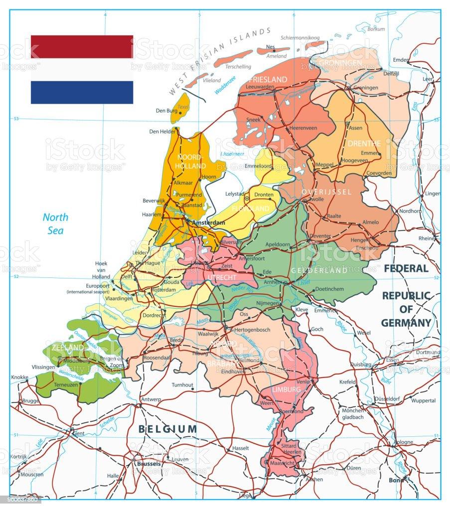 オランダの行政区分地図や道路 -...