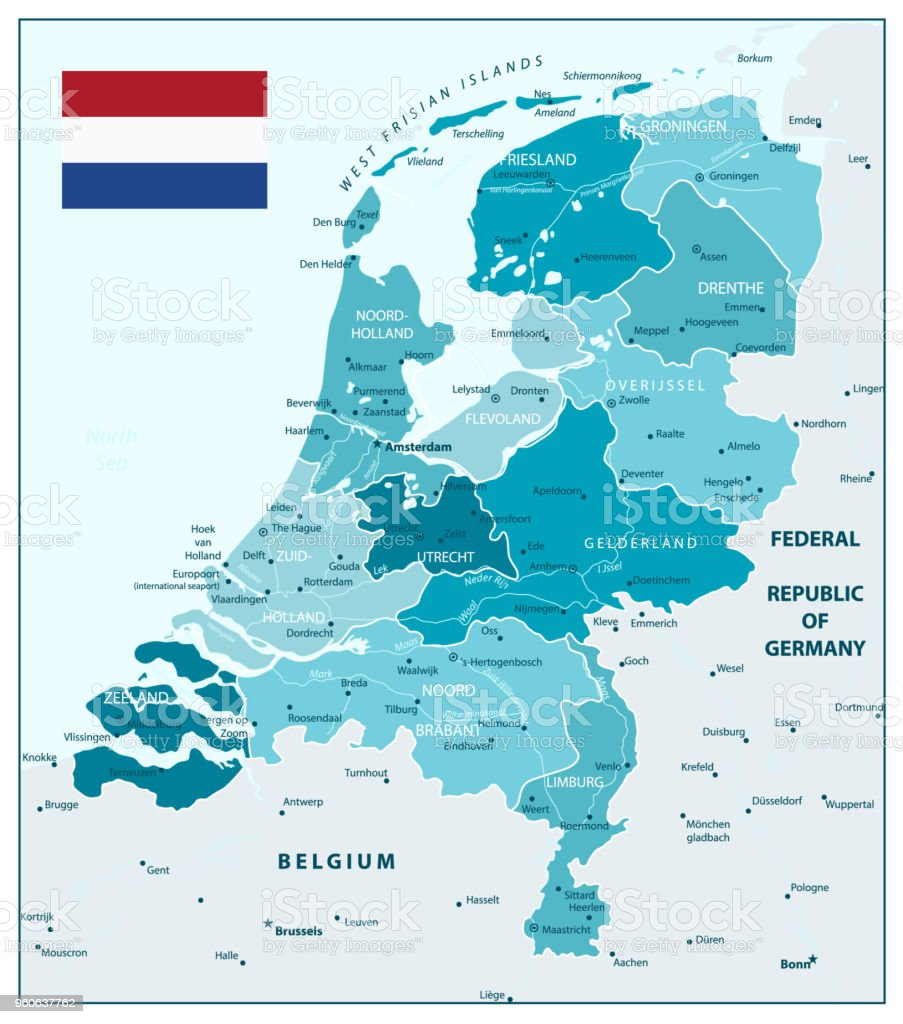 Netherlands Administrative Divisions Map In Aqua Blue Colors Stock ...