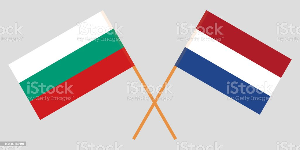 Netherlands and Bulgaria. The Netherlandish and Bulgarian flags. Official proportion. Correct colors. Vector vector art illustration