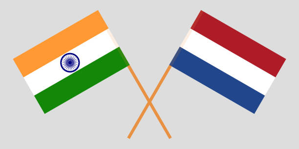 stockillustraties, clipart, cartoons en iconen met nederland en india. de vlaamse primitieven en indiase vlaggen. officiële gedeelte. juiste kleuren. vector - den haag