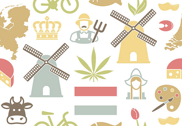 netherlands background - dutch traditional clothing stock illustrations, clip art, cartoons, & icons