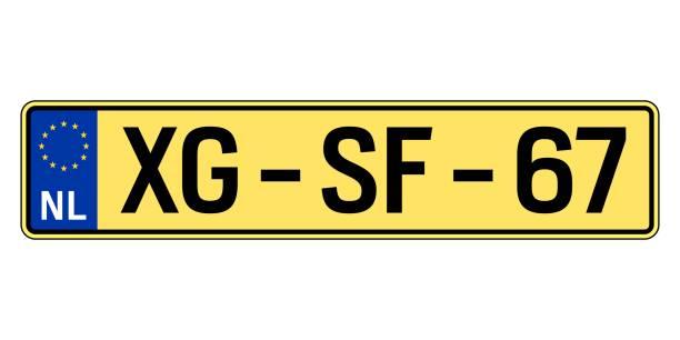 niederlande auto platte. kfz-kennzeichen - nummernschilder stock-grafiken, -clipart, -cartoons und -symbole